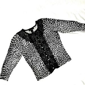 White House Black Market Leopard Cardigan Medium